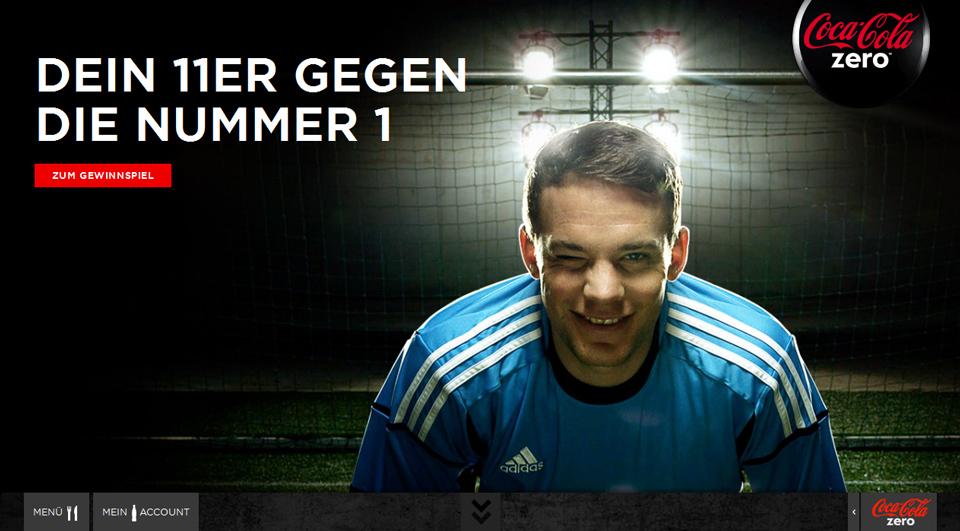Screenshot: www.coke-zero.de