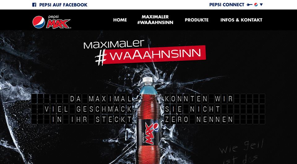 Screenshot: www.pepsi.de/maximalerWaaahnsinn